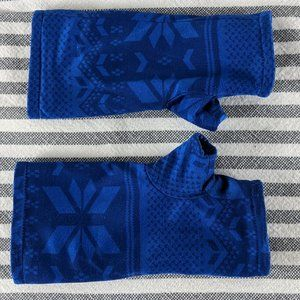 Blue Fleece Fingerless Gloves